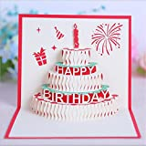 Yamyannie 10 PCS Happy Birthday Cake Pop up Grußkarte 15 cm x 15 cm Rot