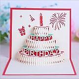 Yamyannie 10PCS Happy Birthday Cake Pop up Grußkarte 15cm x 15cm Rot