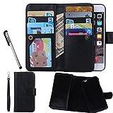 Urvoix Hülle / Brieftasche für Apple iPhone 6 / 6s 11,9cm (4,7Zoll), Leder, 2-in-1-Klapphülle mit Kartenfächern und abnehmbarer, magnetischer Hülle für das Smartphone Flip Cover schwarz