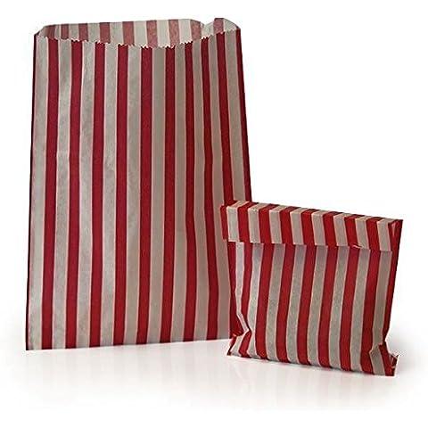 100x rojo Candy Stripe bolsas de papel 5