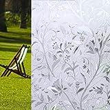 COOJA Statische Fensterfolie Blickdicht UV Schutzfolie, Sichtschutzfolie Fenster Ohne Kleber Milchglasfolie Selbstklebend Glasdekorfolie Glasfolie 3D Folie 45x200cm -Tulip Blumen Muster