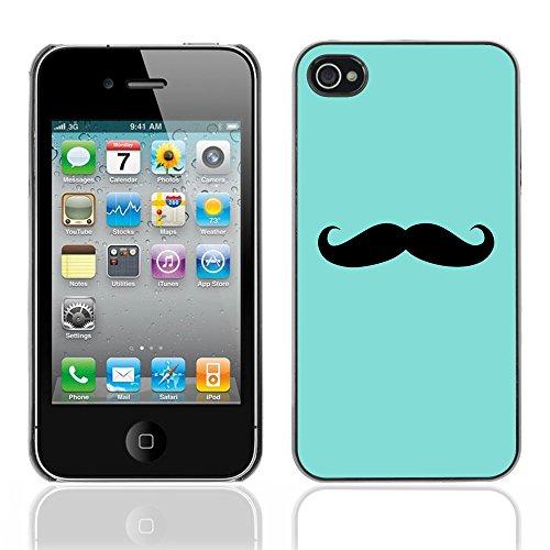 Graphic4You Mustache Schnurrbart Lustig Design Harte Hülle Case Tasche Schutzhülle für Apple iPhone 4 und 4S Design #10