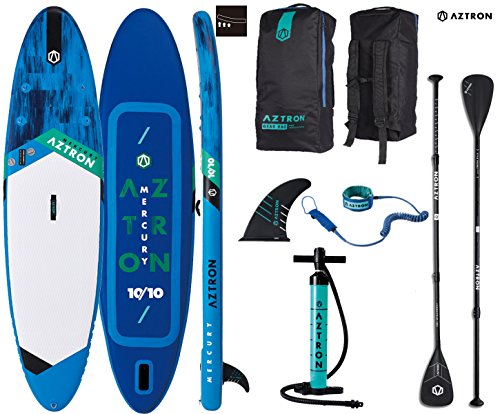 AZTRON Mercury 10.10 Sup Stand up Paddle Board mit Speed Carbon Paddel und Leash -