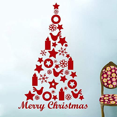 jiuyaomai Decalcomanie da Muro Albero di Natale Allegro Decorazioni per Stelle Candele Decal Sticker Art Camera da Letto Decorazioni per la casa Murales 84x130cm