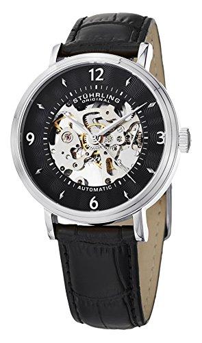 Stuhrling Original 647.01SET - Reloj para hombre, correa de cuero color negro