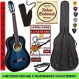 Pack Guitare Classique 3/4 (8-13ans) Pour Enfant Avec 6 Accessoires (bleue)