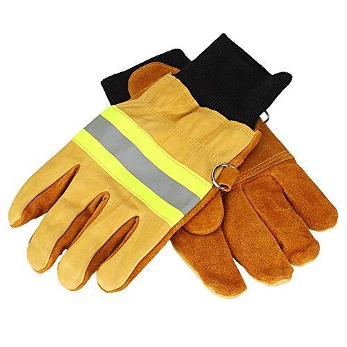 Feuerfeste Handschuhe,Feuerwehrhandschuhe Beweis Wasserdicht Hitze Beständig Schwer Entflammbar Handschuhe mit Reflektierenden Riemen -