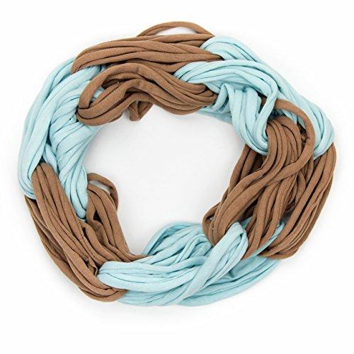 MANUMAR Loop-Schal für Damen einfarbig | feines Hals-Tuch in hellblau braun als perfektes Herbst Winter Accessoire | Schlauch-Schal | Damen-Schal | Rund-Schal | Geschenkidee für Frauen und Mädchen