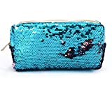 Amorar Mermaid Paillettes Zaino con lacci Astuccio sirena di borsa di penna cosmetica di cancelleria durevole borsa grande capacità borsa di trucco Glittering Outdoo