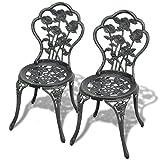 lingjiushopping Bistro Stühle 2Pcs Grün 41x 49x 81,5cm Aluguss Farbe: grün Material: Guss Aluminium Sitz und Rückenlehne + Gusseisen Beine