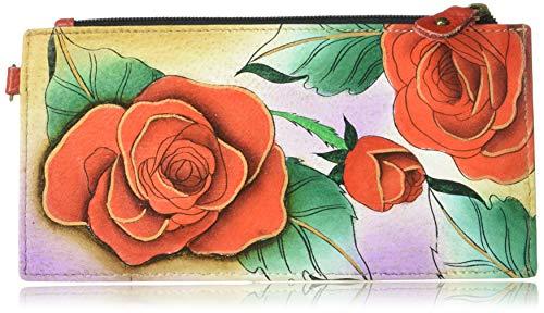 Anna by Anuschka Damen Geldbörse Echtleder 5 Kreditkartenfächer, (Romantic Rose), Einheitsgröße -