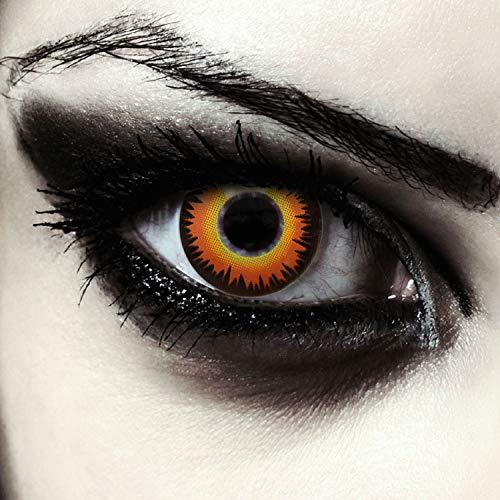 "Designlenses, Dos lentillas de colores naranjas para Halloween hombre-lobo costume lentes de tres meses sin dioprtías/corregir + gratis caso de lente ""Orange Werewolf"""