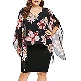 TUDUZ Sommerkleid Damen Casual Rose Print Chiffon O-Ausschnitt Rüschen Minikleid Partykleid