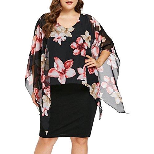 TUDUZ Sommerkleid Damen Casual Rose Print Chiffon O-Ausschnitt Rüschen Minikleid Partykleid (Blau,...