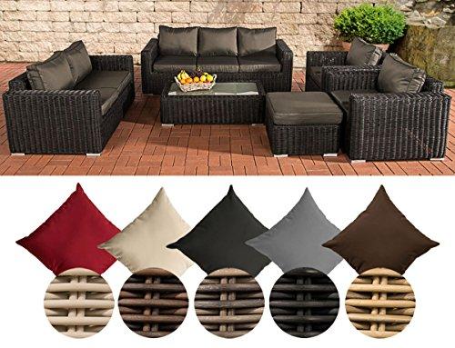 CLP Polyrattan-Lounge MADEIRA XL inklusive Polsterauflagen | Gartenmöbel-Set bestehend aus einem 3er-Sofa, einem 2er-Sofa, zwei Sesseln einem Loungetisch und einem Hocker | In verschiedenen Farben erhältlich Bezugfarbe: Anthrazit, Rattan Farbe schwarz