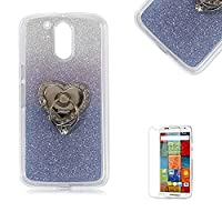 Motorola Moto G4/G4 Plus Case [with Free Screen Protector], Funyye Soft Silicone Gel TPU Ultra Thin Slim Glitter Dark Blue Gradual Colour Changing With Love Hearts Ring Holder Protective Rubber Bumper Case Cover Shell for Motorola Moto G4/G4 Plus