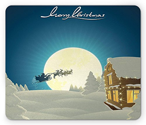 Santa on His Magical Sled Winter with Merry Christmas Lettering, Standard Size Rectangle Non-Slip Rubber Mousepad, Night Blue White and Brown ()