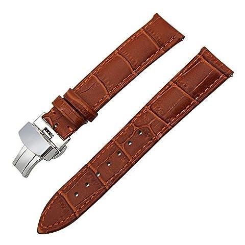 TRUMiRR 22mm Quick Release Bracelet en cuir véritable pour Samsung Gear 2 R380 R381 R382, Gear S3 Frontier classique, Moto 360 2 46mm, Asus ZenWatch 1 2 Hommes, Pebble Time, LG Urbane W150
