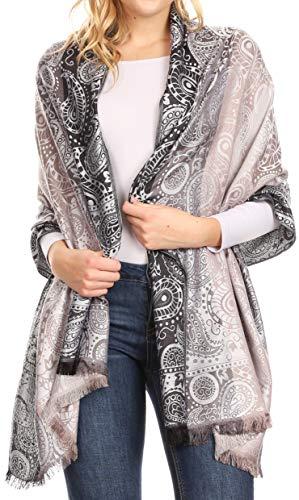 Sakkas 18201 - pelliccia scamosciata di scialle di pashmina intrecciata in morbido tessuto paisley reversibile da donna marga - grigio chiaro - os
