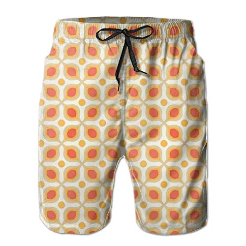 jiger Mens Beach Shorts Swim Trunks,Linked Bold Geometric Shapes In 70s Vintage Style Minimalist Pattern Boho Picture Theme Home Decor Orange Cream,Summer Cool Quick Dry Board Shorts Bathing SuitXL -