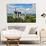 kingxqq Schloss Deutschland Neuschwanstein Schlosslandschaft Bild Wandkunst Poster Leinwandbilder Kunstwerke für Wohnzimmer Dekor 60x80cm Ohne Rahmen
