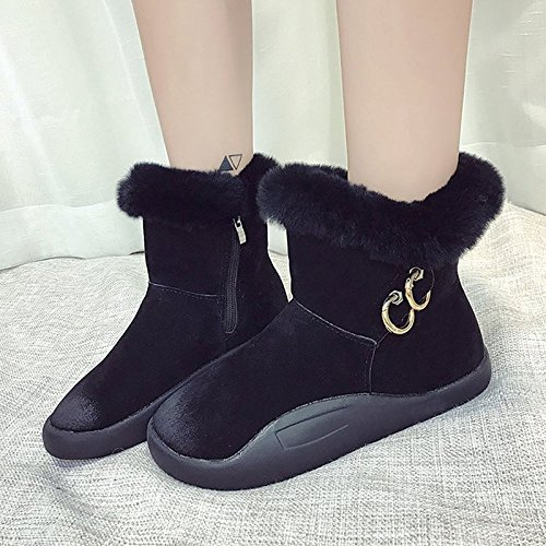 HSXZ Scarpe donna Cashmere Winter Snow Boots stivali tacco piatto rotondo Mid-Calf Toe stivali per Casual Marrone Verde Nero Green