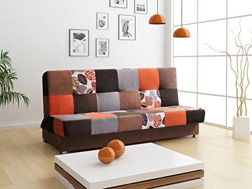 mb-moebel Patchwork Schlafsofa Kippsofa Sofa mit Schlaffunktion Klappsofa Bettfunktion mit Bettkasten Couchgarnitur Couch Sofagarnitur Ausziehbar – Mexico