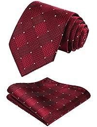 29a434bc6501 HISDERN Check Wedding Tie Handkerchief Men s Necktie   Pocket Square Set