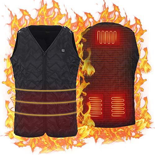 Keymao Beheizte Weste für Herren Damen, Elektrische Beheizte Jacke USB Lade Heizweste, Warme Heat Jacke mit 3 Fakultativ Temperatur für Outdoor-Aktivitäten Wandern Jagd Motorrad Camping