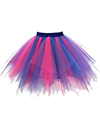 458fc2be4d567a GirstunmBrand Damen 50er Vintage Tüllrock Petticoat Mehrfarbig Bubble  Tanzkleid Rock
