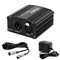Phantom Power Supplies, Ohuhu 1- Channel 48v Phantom Power Supply With Adapter, Bonus Xlr Extension Cable