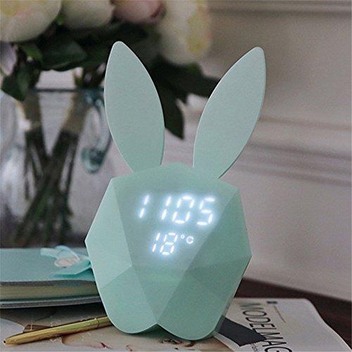 IHRKleid Nachtlicht, Digital Wecker mit niedlichen Kaninchen Thermometer wiederaufladbare Tisch Wanduhren Blau