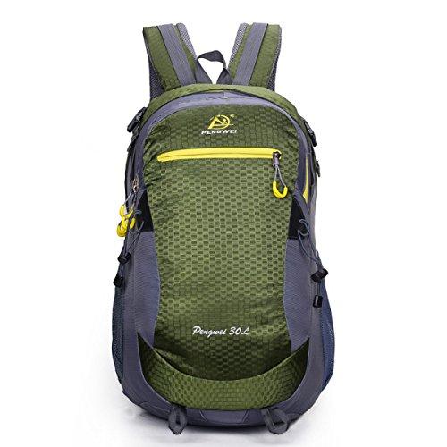 LQABW Schulter-Bergsteigen Berufssport 35L Outdoor-Freizeit Reisen Wandern Wasserdichte Tasche Rucksack ArmyGreen