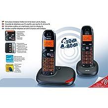 Kit Duo Twin de teléfonos inalámbricos amplificados para personas mayores, teclas grandes XL, amplia pantalla XL, volumen de voz amplificado a 30dB y sonidos amplificados a 80dB, volumen alto, compatible con audífonos (HAC), ideal para personas con dificultades auditivas, señalización visual de llamada