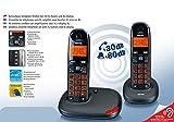 Telefoni Cordless Kit DUO Twin Amplificati per Anziani Tasti XL Grandi Ampio Display XL Volume Voce Amplificato 30 Decibel Suoneria Amplificata 80 Decibel Volume Alto Compatibile Apparecchi Acustici HAC Ipoudenti Vivavoce Segnalazione Visiva Chiamata