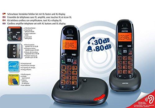 Telefone Cordless Kit Duo Twin Dock für Senioren großen Tasten XL großes Display XL Volumen Stimme verstärkt 30Dezibel Klingelton Verstärker 80Dezibel Lautstärke hoch Kompatibel Hörgeräte Hac Hörgeschädigte visuelle SIGNALLING Freisprecheinrichtung Anruf (Hörgerät Mode)