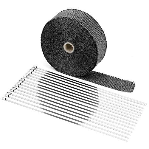Surepromise Titan Hitzeschutzband bis 1200° Hitzeschutz Heat Wrap Krümmer Hitzeschutzband Hitzeschutz Auspuffband 15mx50mm mit 15X Metallstreifen