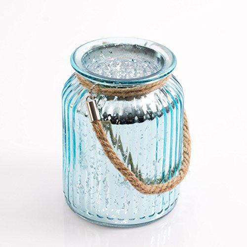 Windlichtglas / Glaswindlicht Vase LAISA mit Henkel, türkis Krakelee, 14,5 cm, Ø 10,5 cm - Tischvase - INNA Glas