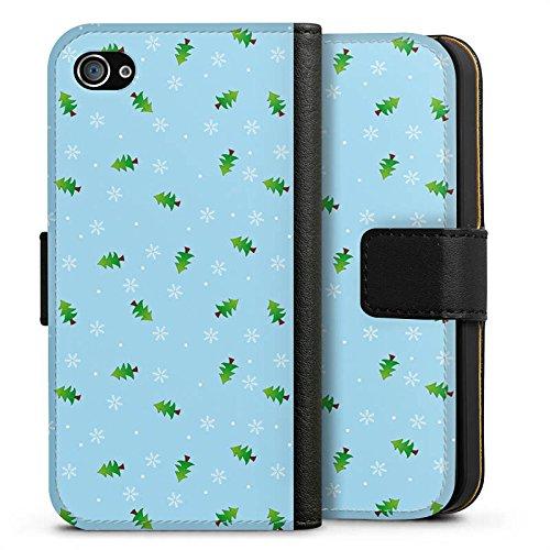 Apple iPhone X Silikon Hülle Case Schutzhülle Tannenbaum Winter Weihnachten Sideflip Tasche schwarz
