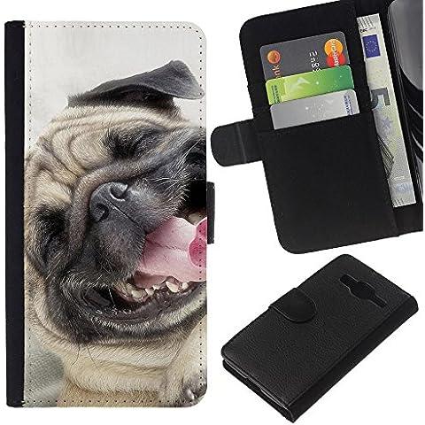 Pug Happy Smiling Dog Pet Canine Fawn - la tarjeta de Crédito Slots PU Funda de cuero Monedero caso cubierta de piel Samsung Galaxy Core Prime
