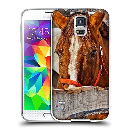 Hello-Mobile Schutz Hülle TPU Case Schutzhülle Silikon Tasche Dünn Transparent // V00004412 Rotes Pferd im Zaun gesperrt // Samsung Galaxy S5 S V SV i9600 (Not Fits S5 ACTIVE) Samsung Galaxy S5 Gesperrt Un