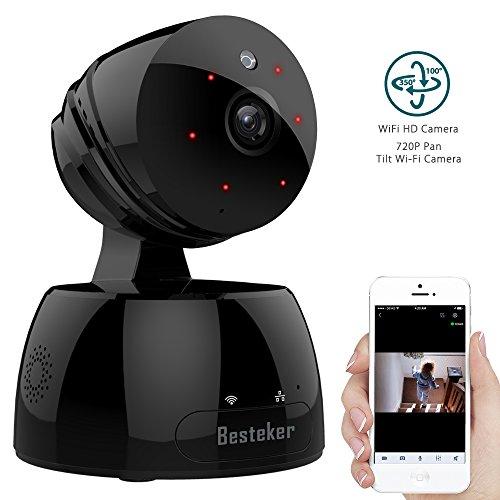 IP Kamera Alarmanlage, Besteker WlAN HD 720P mit IR-Nachtsicht Gegensprechfunktion Bewegungsmelder Schwenkbar Ãœberwachungskamera Innen