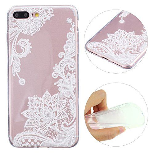 iPhone 7 Plus Hülle Silikon, Moon mood® Relief Soft Schutzhülle für Apple iPhone 7 Plus Ultra Thin Dünn Weiche TPU Schutz Etui Cover, iPhone 7 Plus Backcover Spitze Blumen Soft Etui Painted Muster Zurück Hülle Schale Tasche Protective Skin Handyhülle Abdeckung (Schneiden Spitzen Wieder)