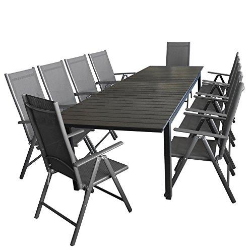 Wohaga 11tlg. Gartengarnitur Gartenmöbel Terrassenmöbel Set Sitzgruppe Aluminium Gartentisch Polywood 280/220x95cm ausziehbar Schwarz + 10x Hochlehner 2×2 Textilen Grau