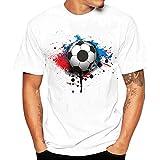 Angebote,Neue Deals,Herren T-Shirt Ronamick Männer Weltmeisterschaft T-Shirts Shirt Fußball Print Kurzarm T-Shirt Bluse (Weiß, L)