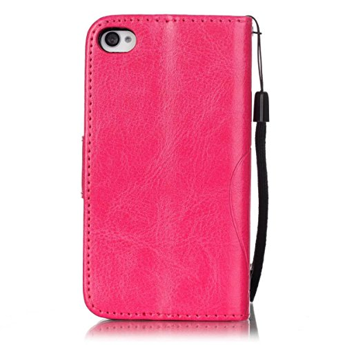 iPhone Case Cover IPhone 4s 4 Case, Pattern peint couleur Wallet Style Case magnétique Flip Flip Folio Housse en cuir Coverup Housse pour IPhone 4s 4 ( Color : Blue , Size : IPhone 4s ) Rose