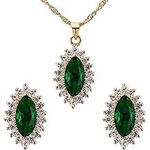 Contever® Elegante Gioielleria Set Compreso Collana Orecchini per Donne - Verde - Pietra Preziosa Del Turchese Giallo