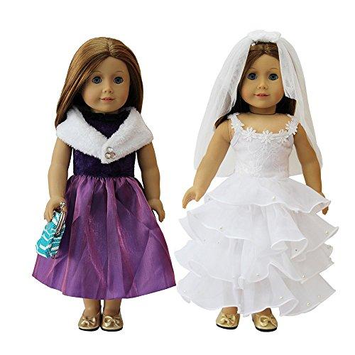 ZITA ELEMENT 3tlg Prinzessin Puppenkleidung für 43cm-46cm Babypuppe Und 17/18 Zoll Girl Doll Bekleidung Zubehör Abendkleid Ballkleid Kostüm Hochzeitskleid mit Handtasche
