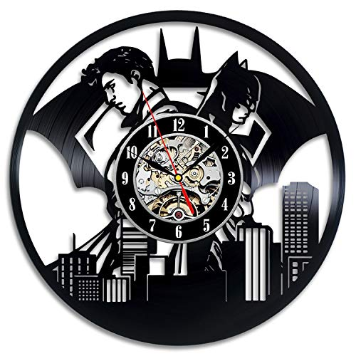 Everyday Arts Batman Fictional Superhelden-Wanduhr, Vinyl-Schallplatten-Motiv, einzigartige Geschenkideen für Freunde, Ihn, Jahrestag, Kostüm, Party-Geschenk