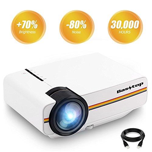 Video Projektor, Basstop Portabel Mini Multimedia Home LED Projektor 1080P Unterstützung für Heimkino - Weiß (Scharfe Projektor-lampe)
